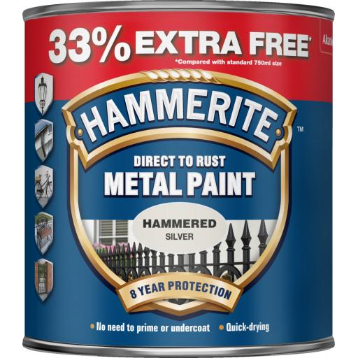Direct To Rust Metal Paint - Hammered Silver - 750ml +33% EF