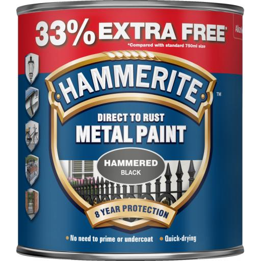 Direct To Rust Metal Paint - Hammered Black - 750ml +33% EF